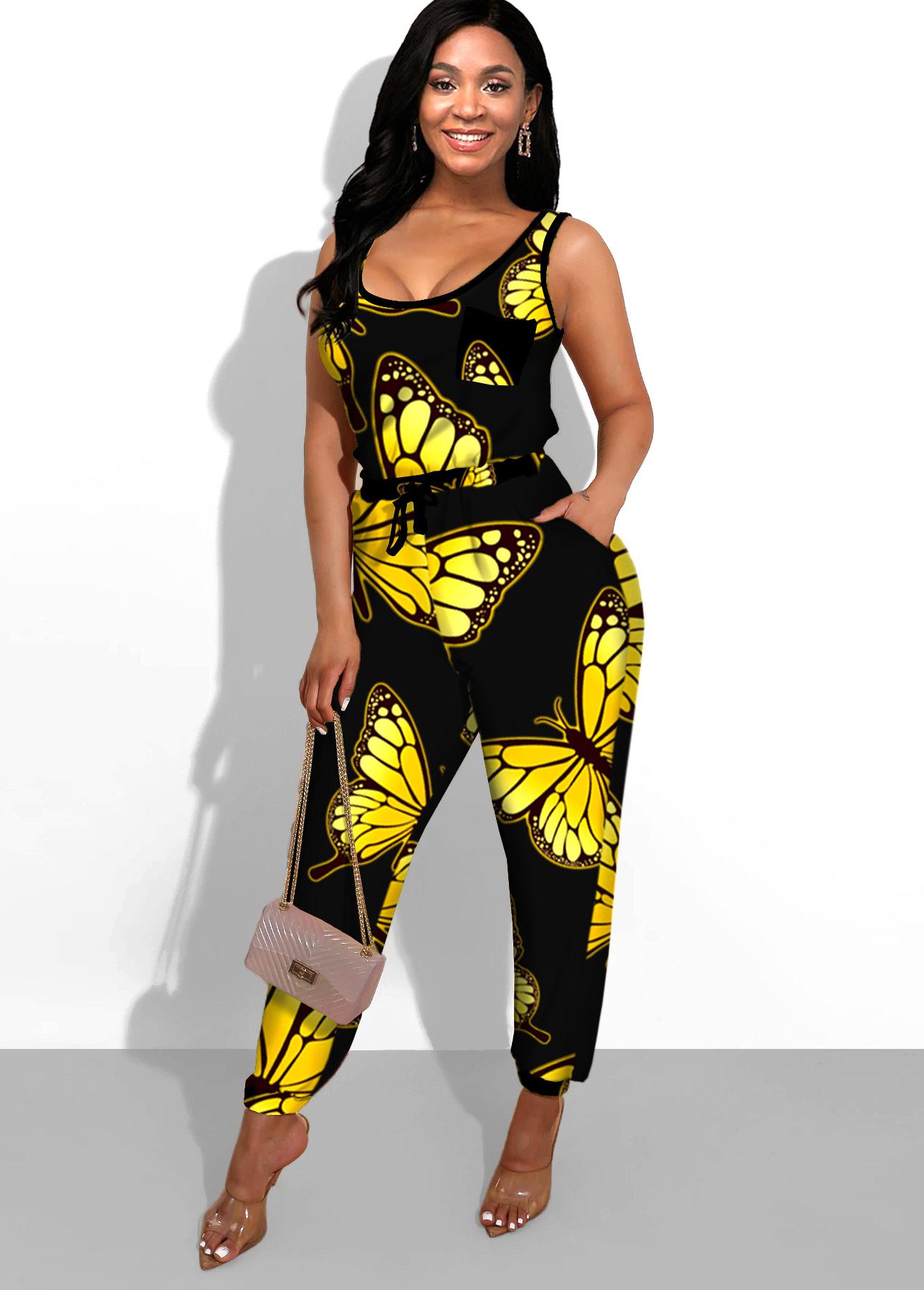 Butterfly Print Side Pocket Black Jumpsuit