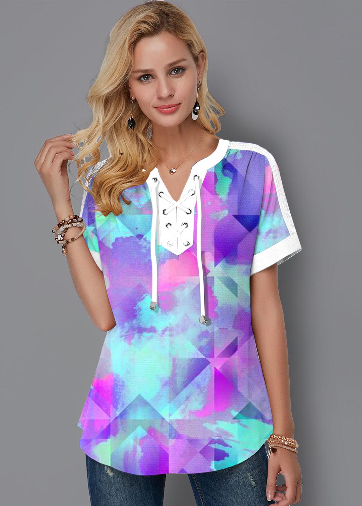 Tie Dye Print Lace Up Short Sleeve Blouse