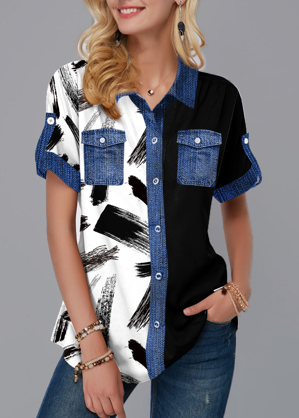 Button Up Printed Chest Pocket Blouse