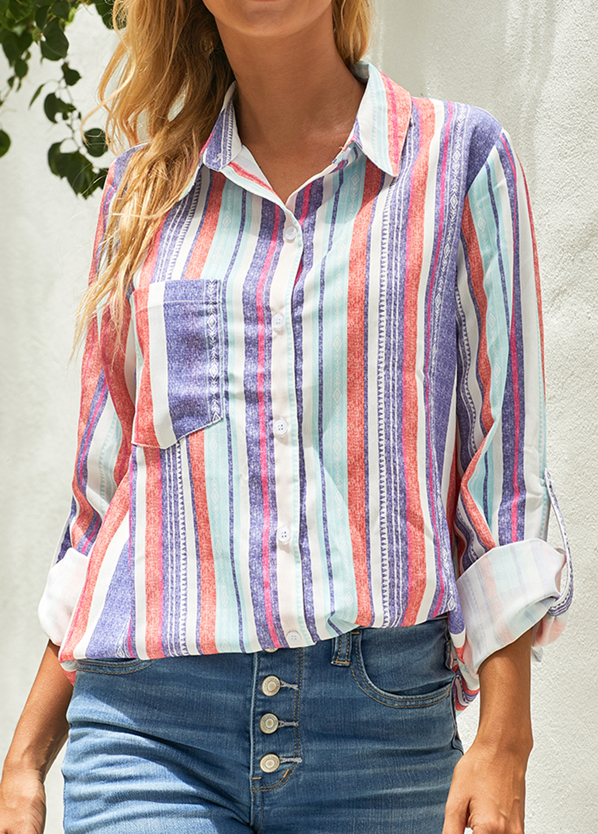 Rainbow Stripe Button Up Turndown Collar Blouse