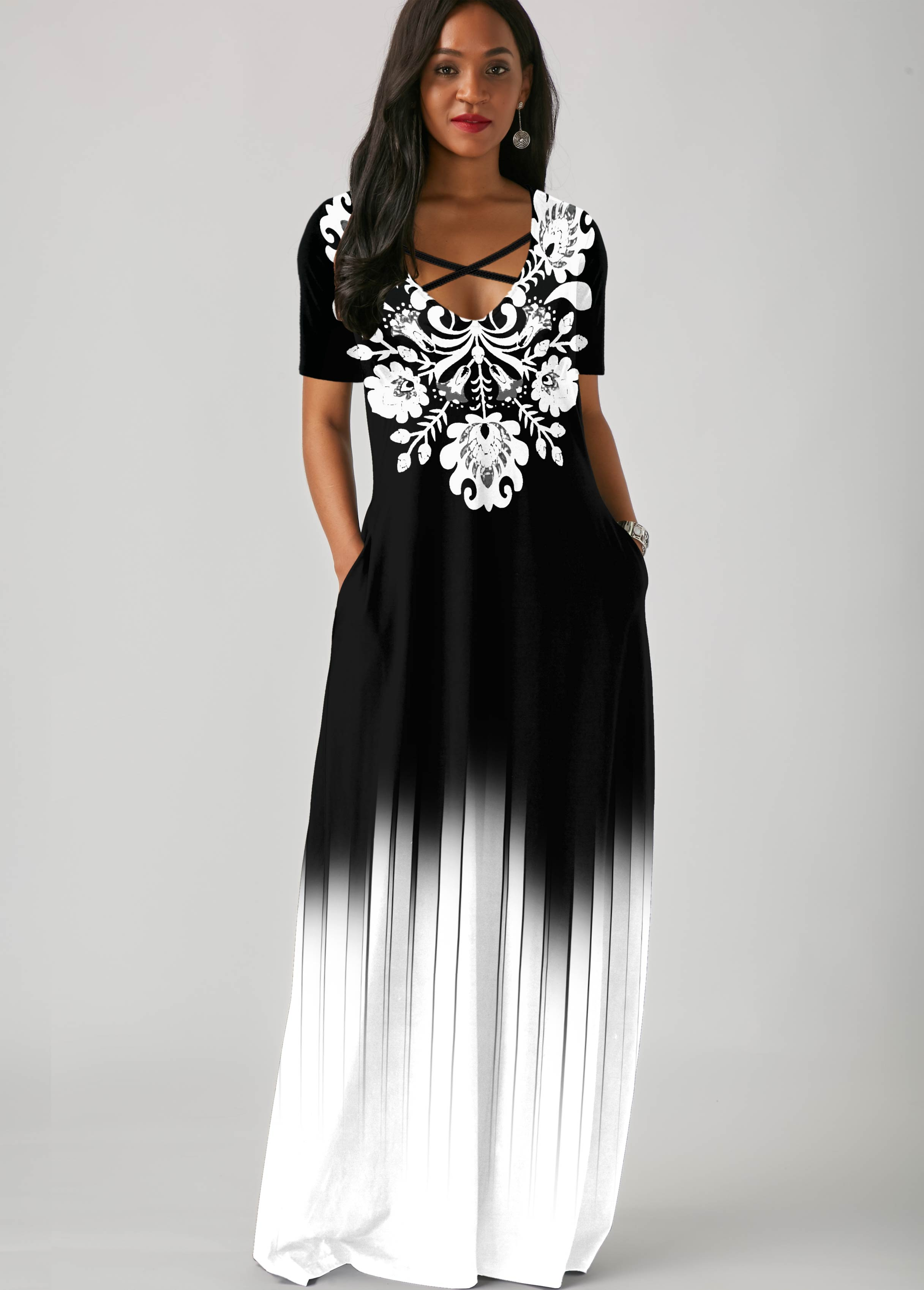 Tribal Print Gradient Side Pocket Maxi Dress