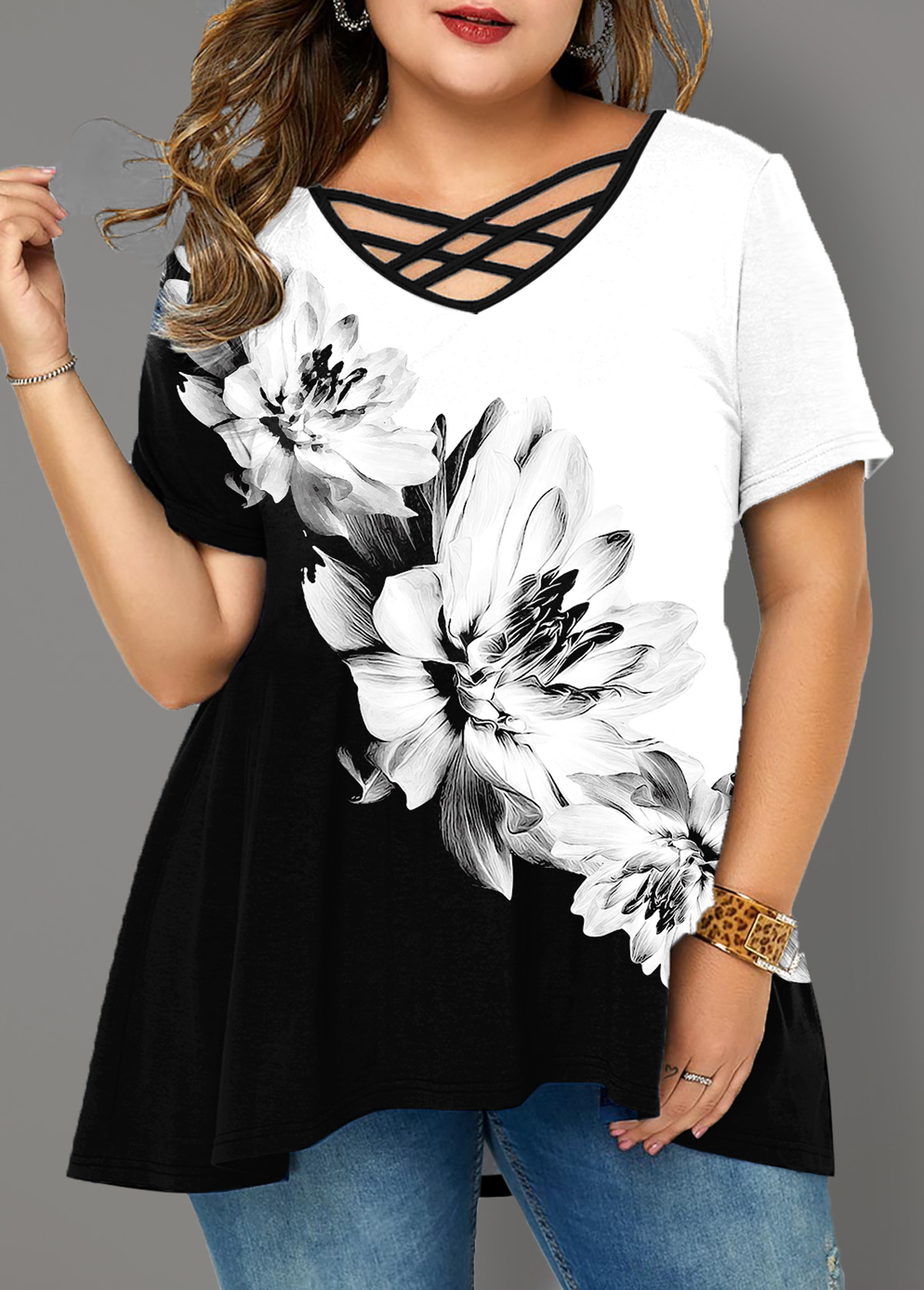 Plus Size Floral Print Cross Strap T Shirt
