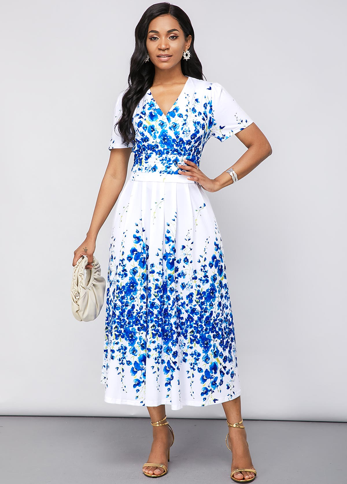 Short Sleeve V Neck Blossom Print Dress