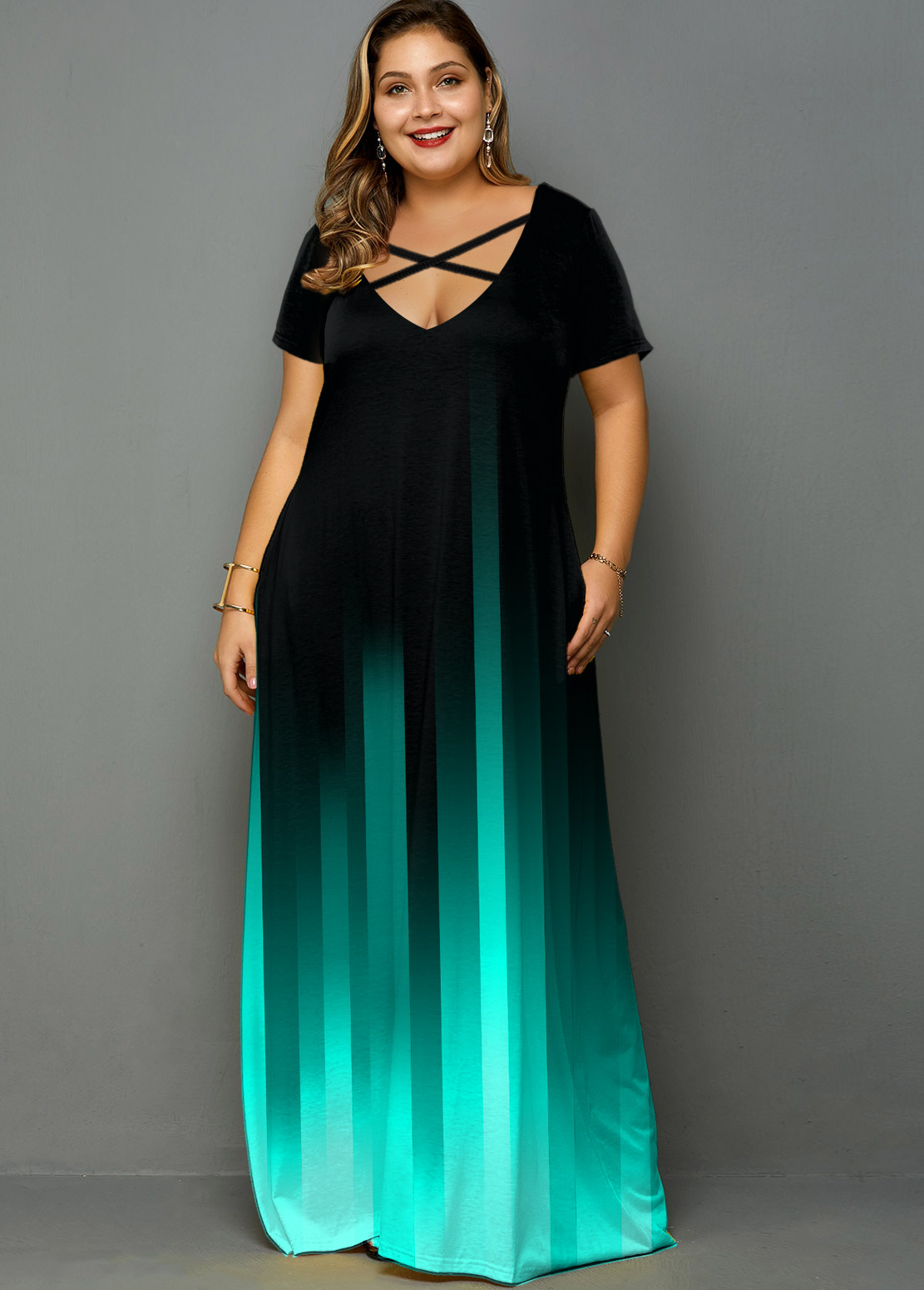 Plus Size Ombre Printed Pocket Maxi Dress
