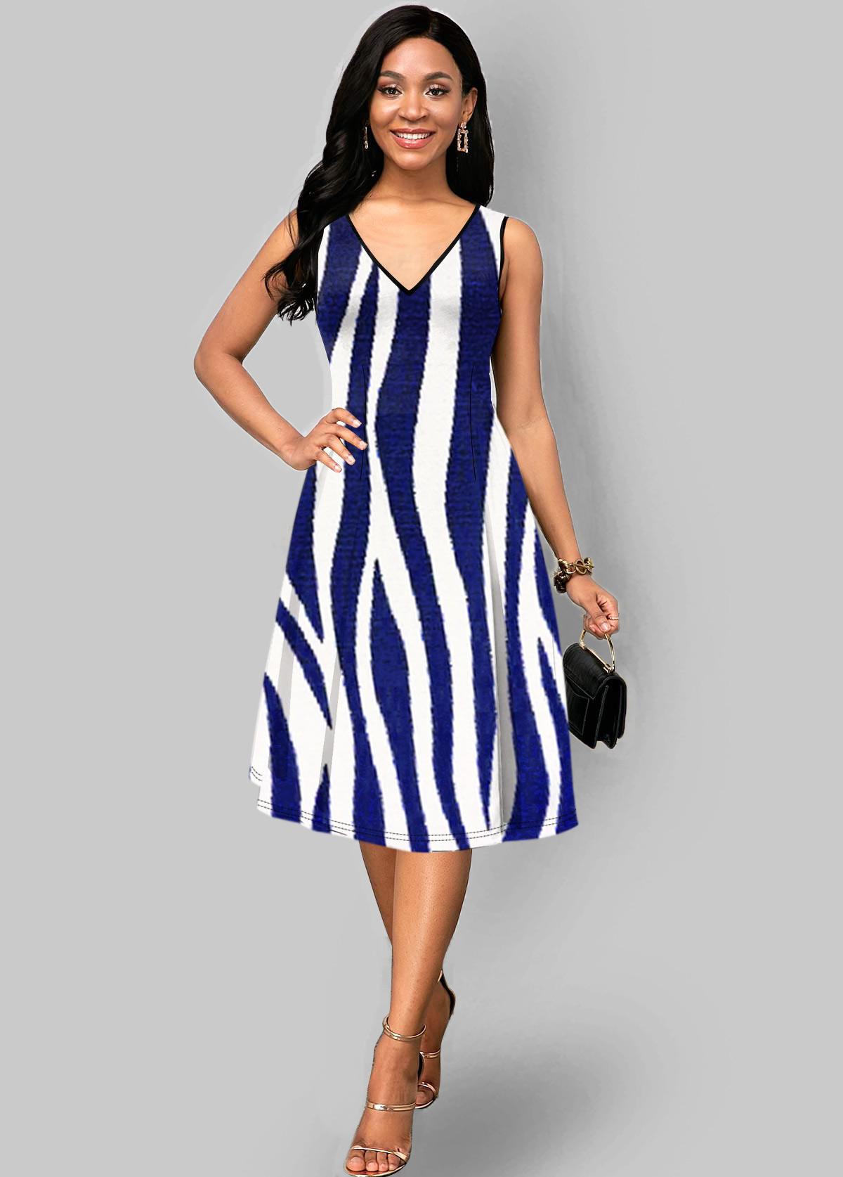 Zebra Print V Neck Sleeveless Dress