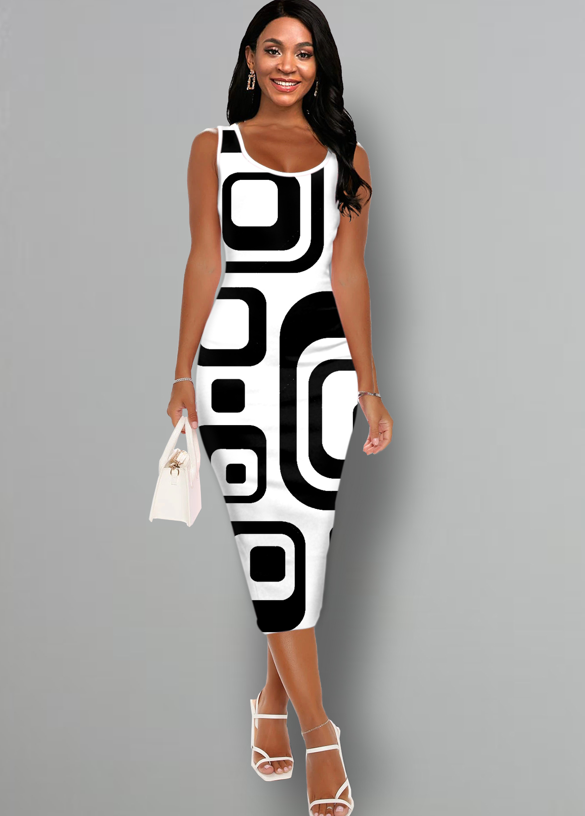 Geometric Print Sleeveless White Bodycon Dress