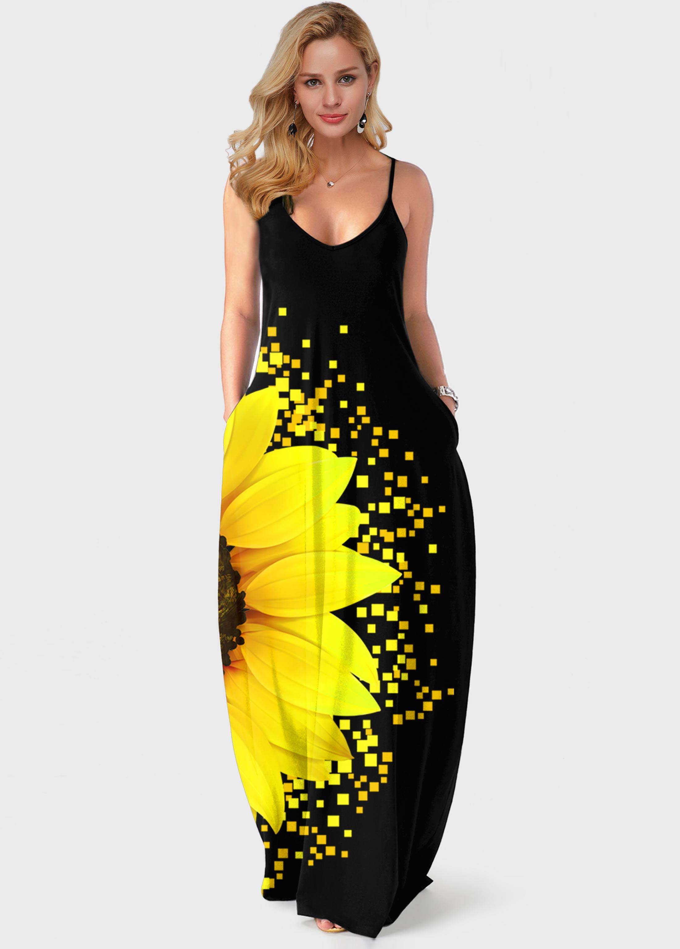 Sunflower Print Spaghetti Strap Side Pocket Maxi Dress
