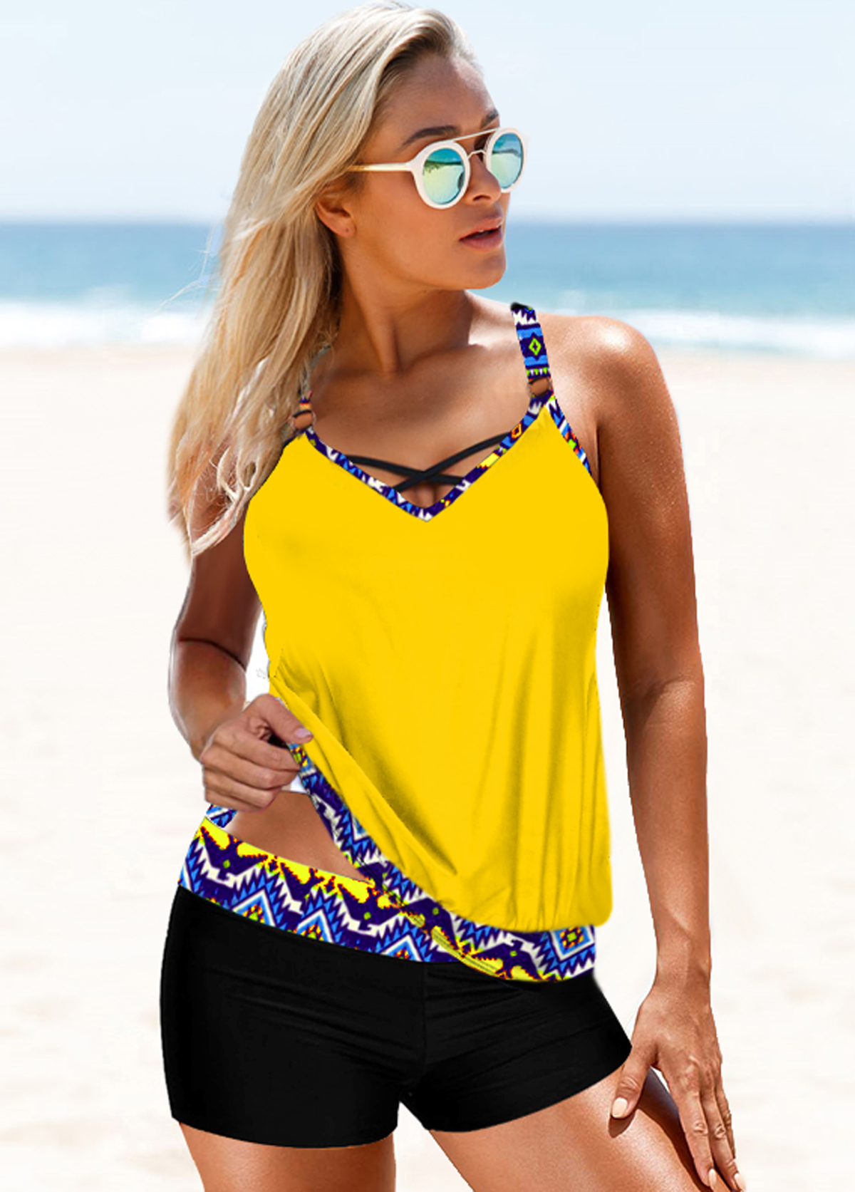 Yellow Tribal Print Strappy Back Tankini Set