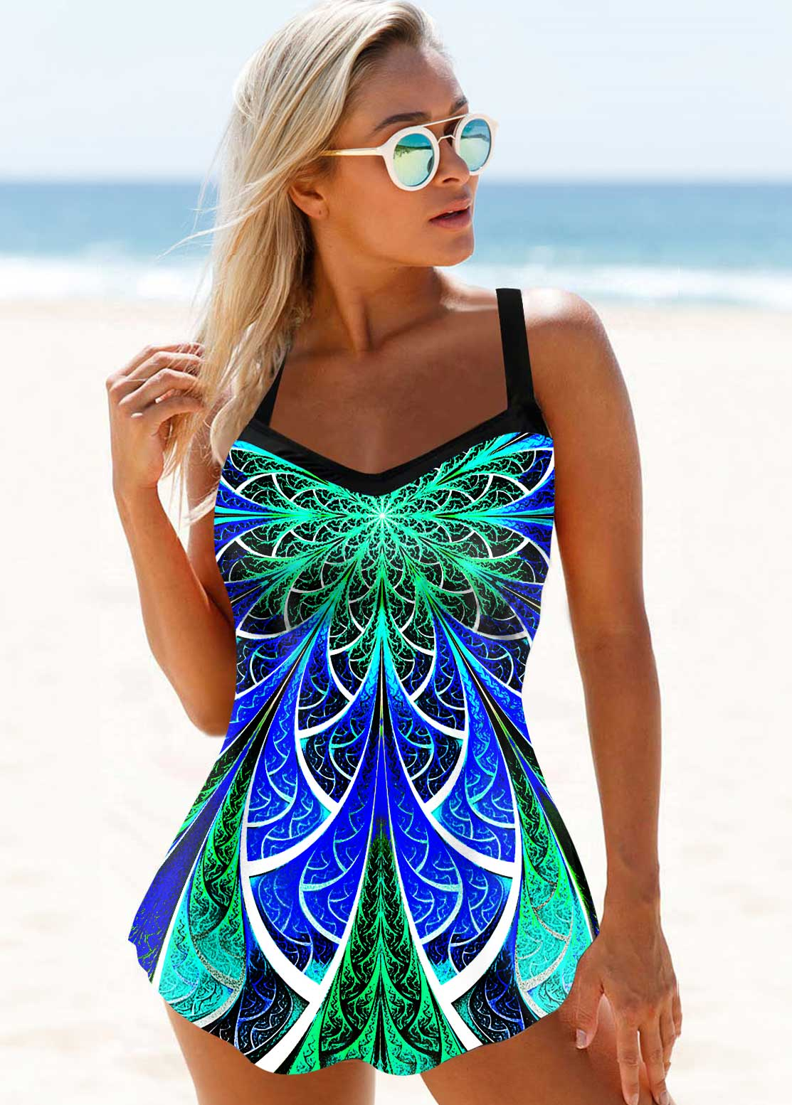 Printed Spaghetti Strap Keyhole Back Swimdress and Panty