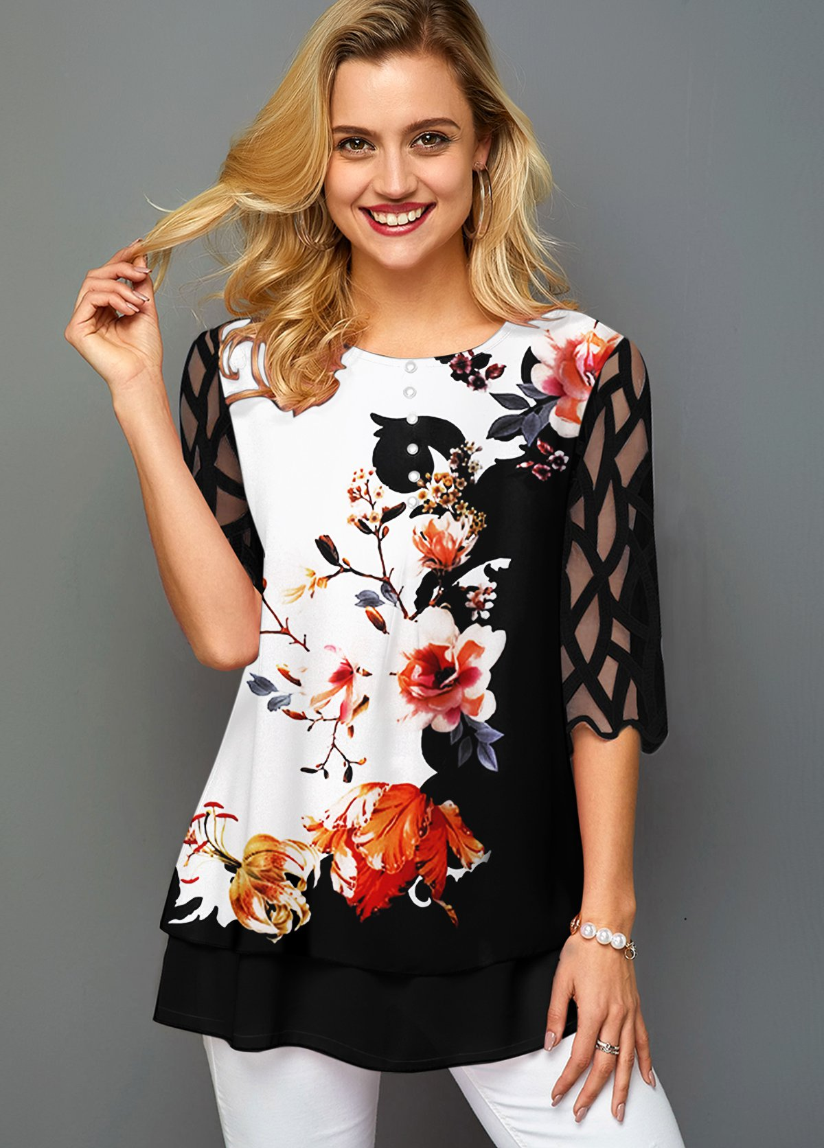 Floral Print Mesh Panel Round Neck T Shirt