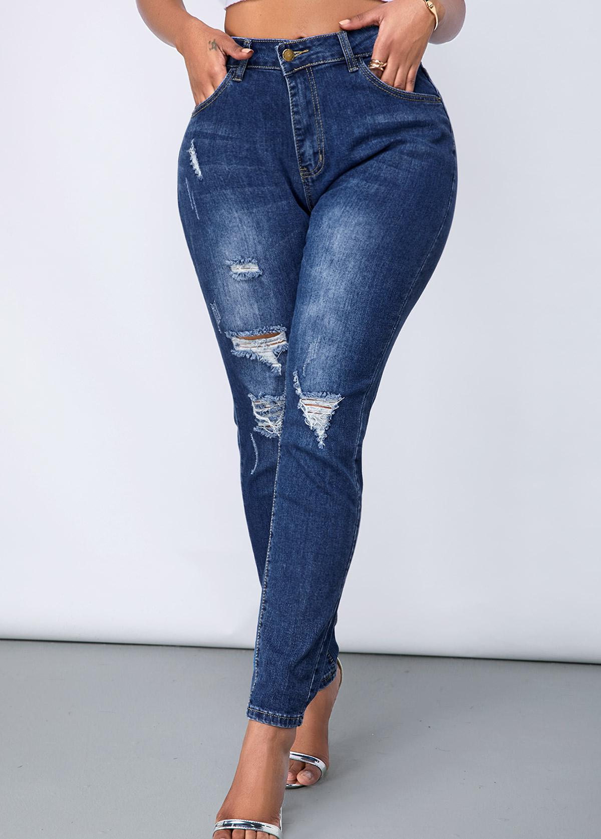 Shredded Acid Washed Slant Pocket Jeans