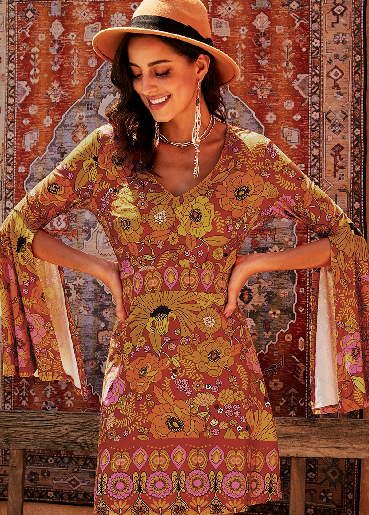 Tribal Print Flare Sleeve V Neck Dress