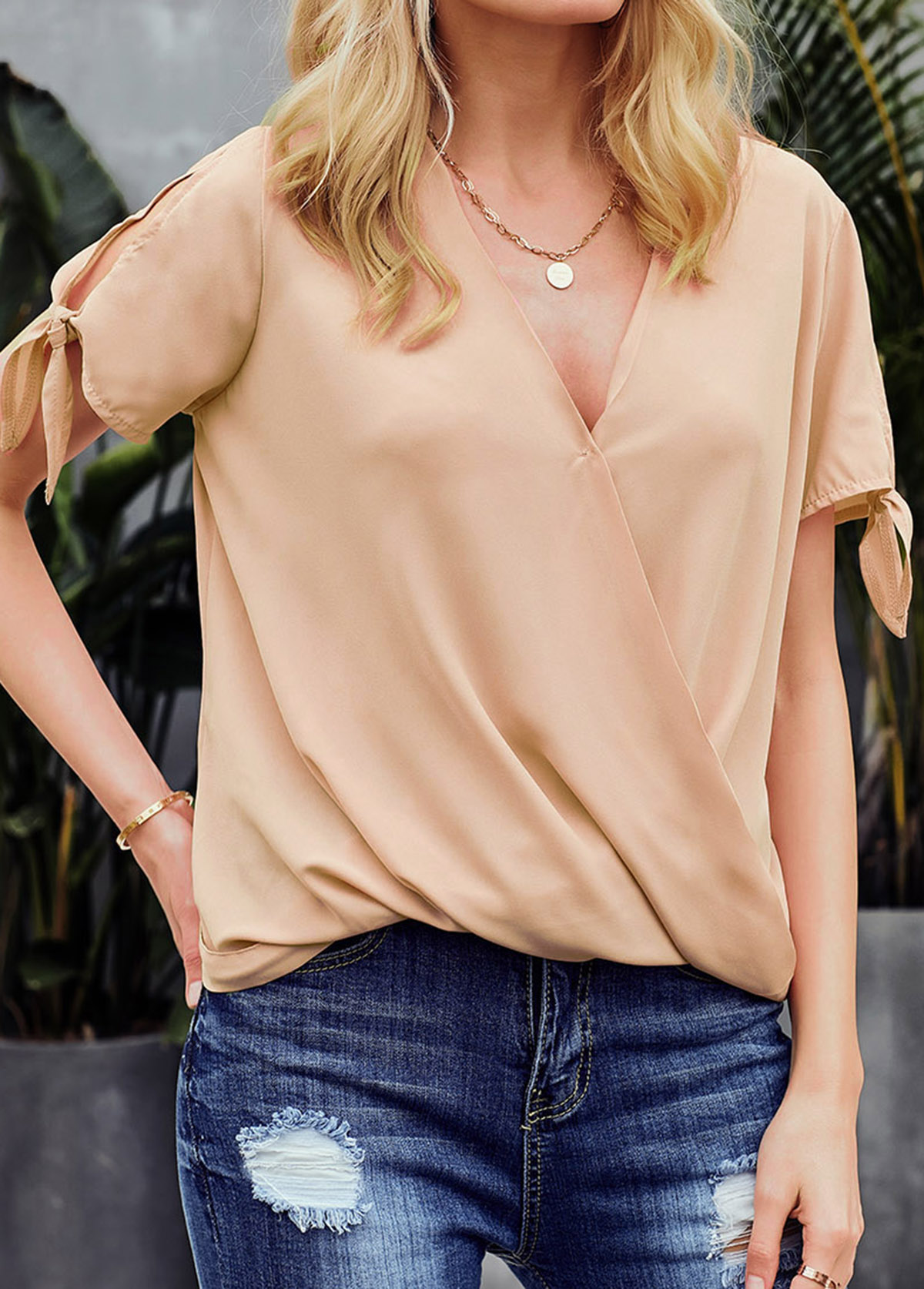 Knotted Cuff V Neck Mock Wrap Blouse