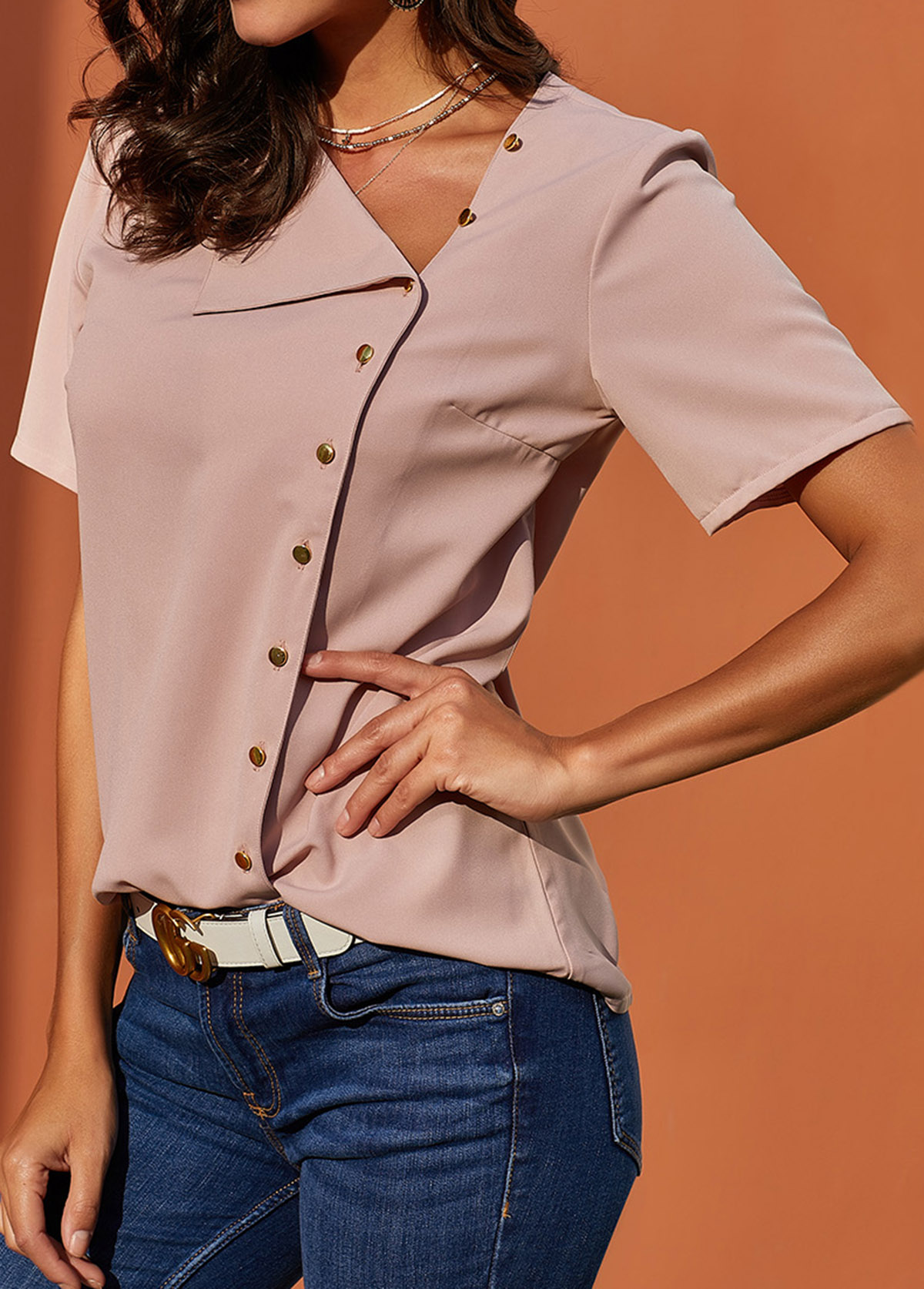 Oblique Collar Inclined Button Short Sleeve Blouse