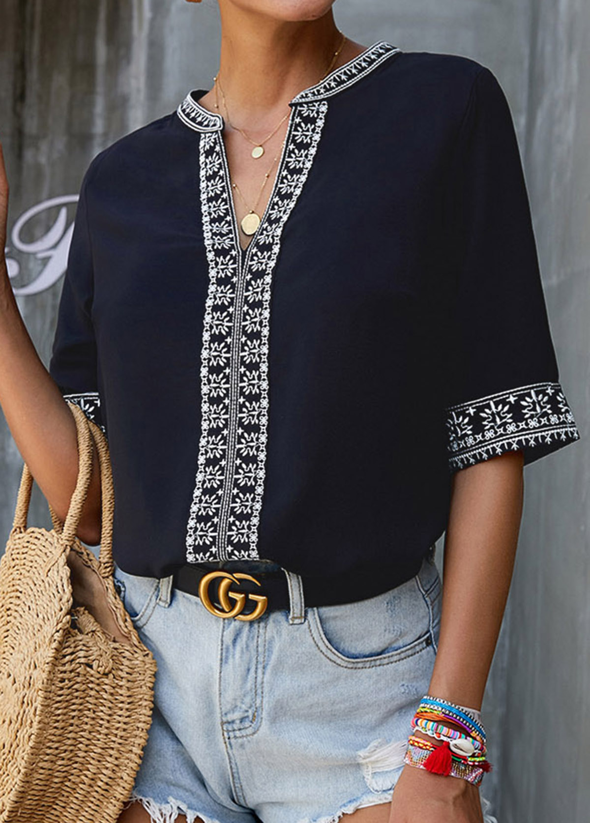 Embroidered Split Neck Short Sleeve Blouse