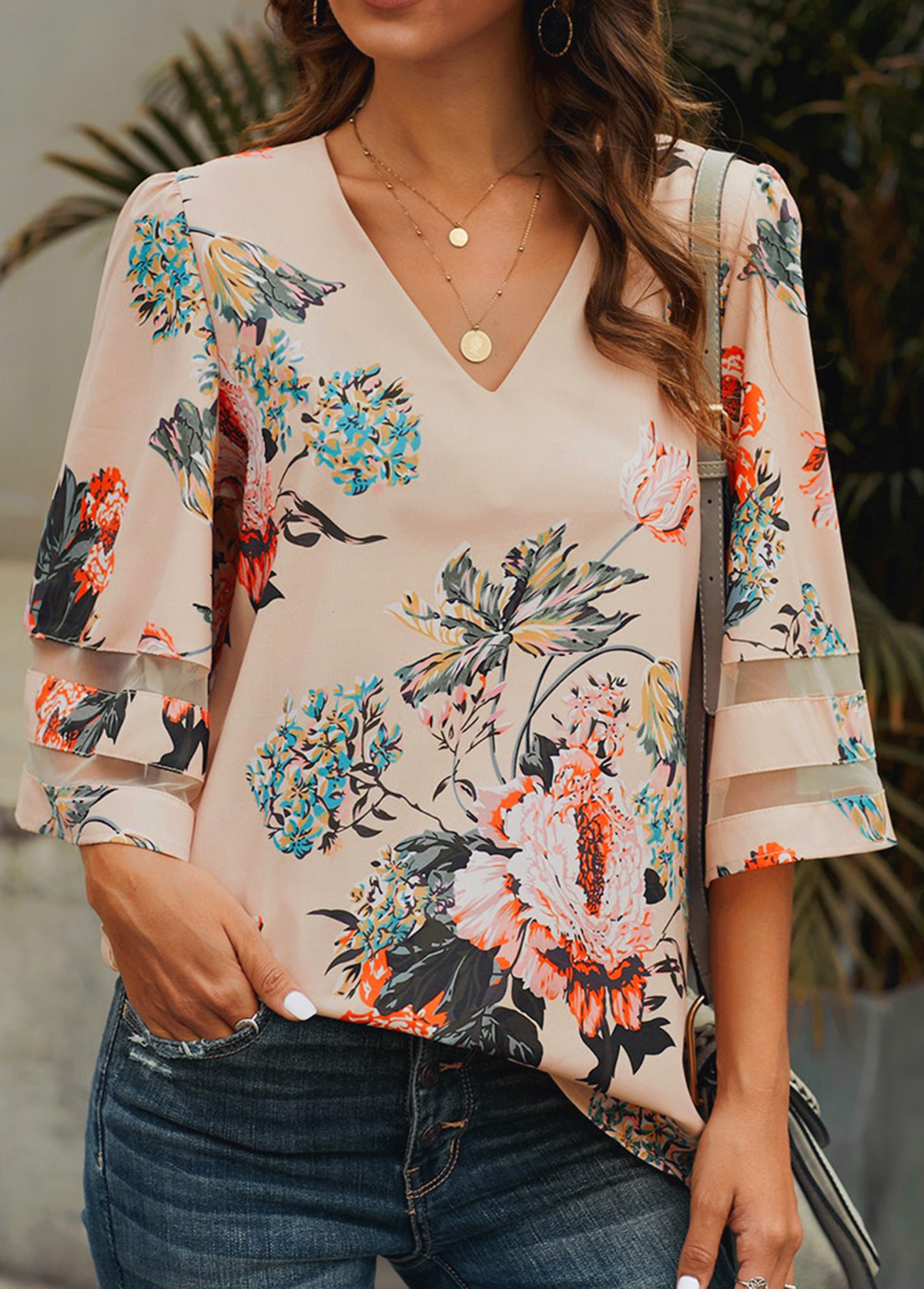 Mesh Panel Floral Print Light Pink Blouse