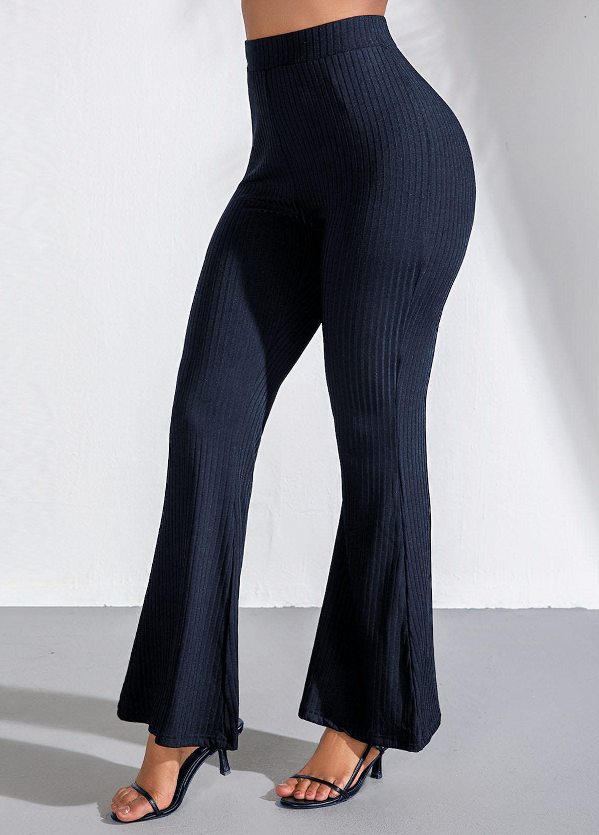 High Waist Navy Blue Flare Pants