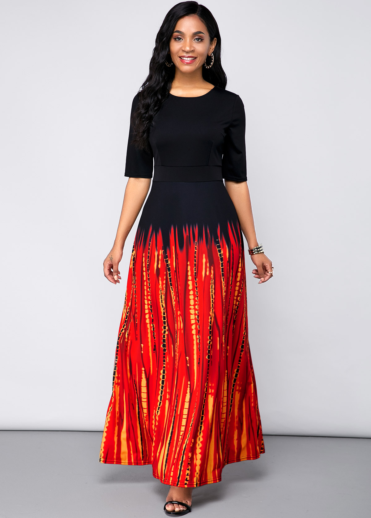 Printed Round Neck Half Sleeve Maxi Dress
