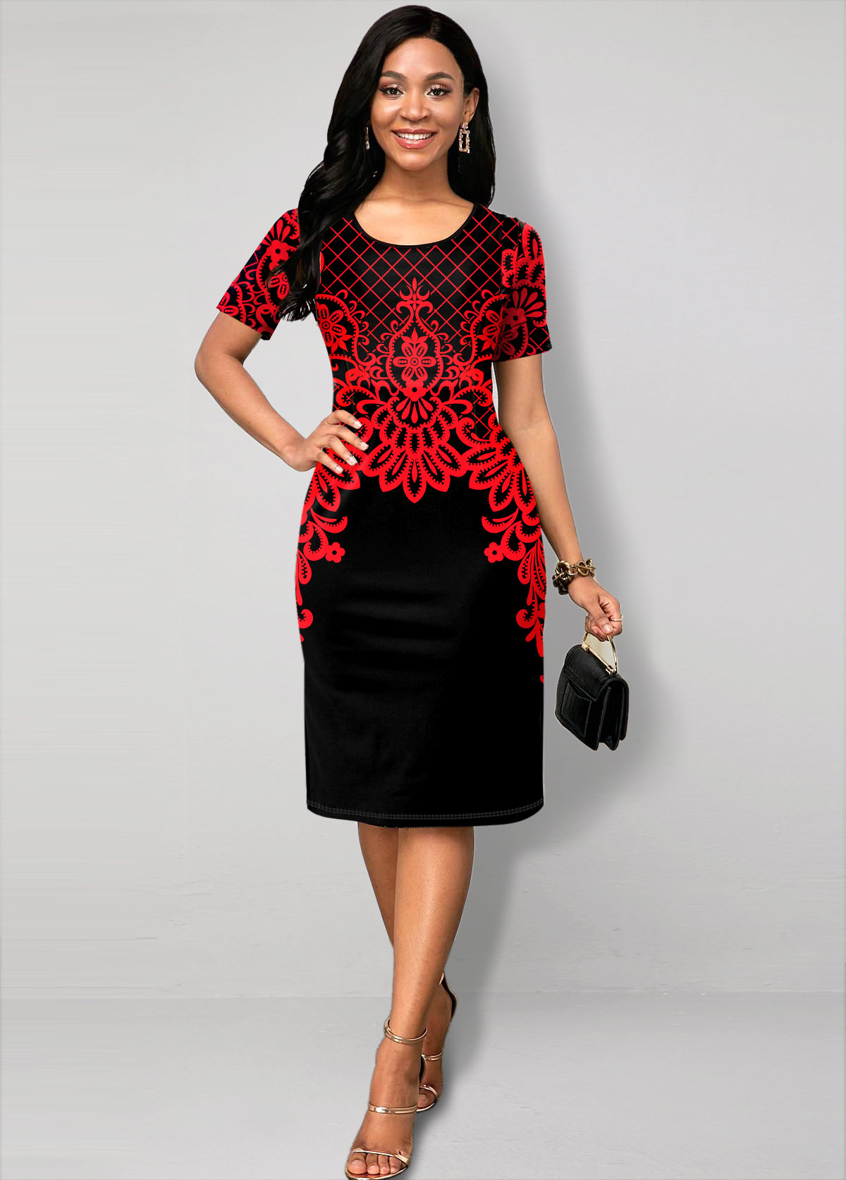 Tribal Print Round Neck Short Sleeve Dress