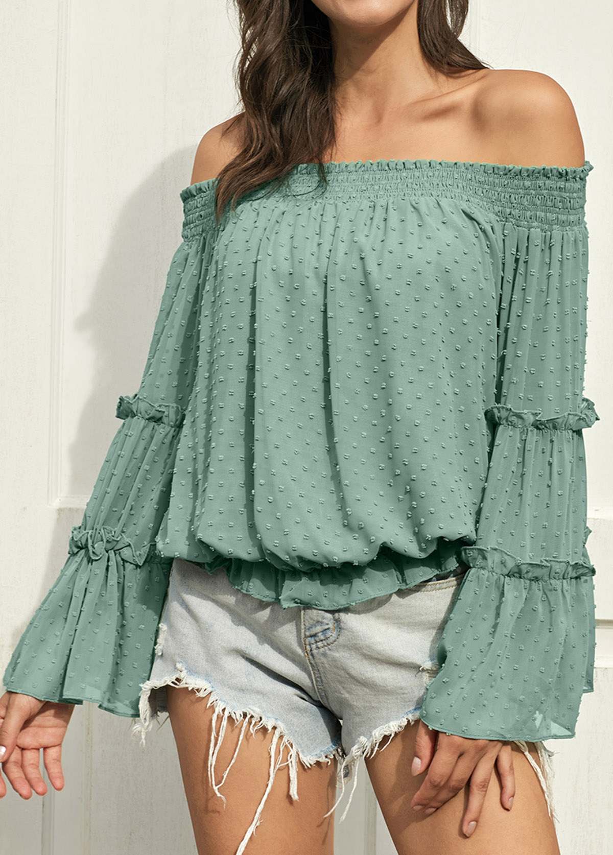 Off the Shoulder Flare Sleeve Blouse