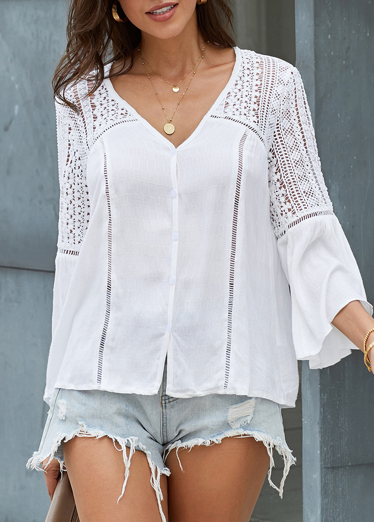 Flare Sleeve V Neck White T Shirt