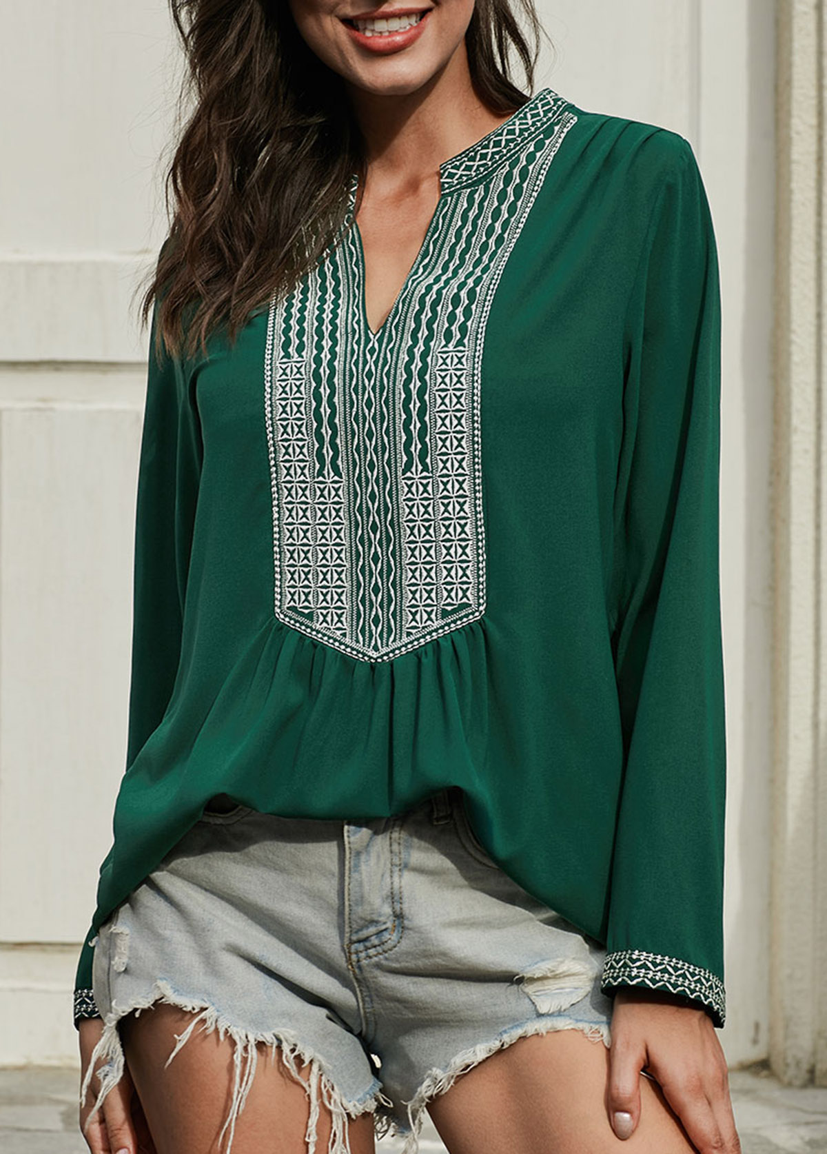 Tribal Print Split Neck Long Sleeve T Shirt