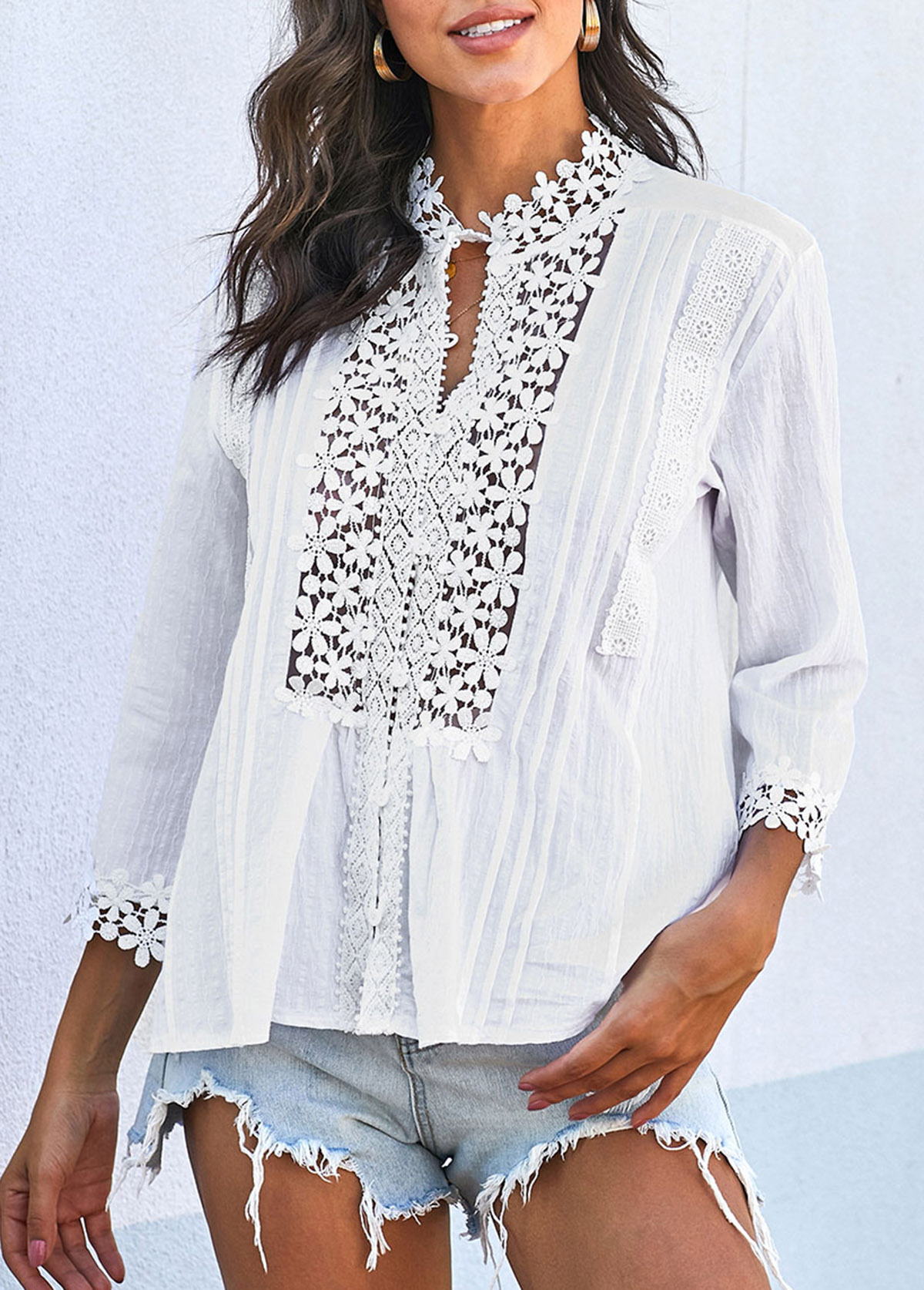 Lace Panel Crinkle Chest Three Quarter Sleeve T Shirt