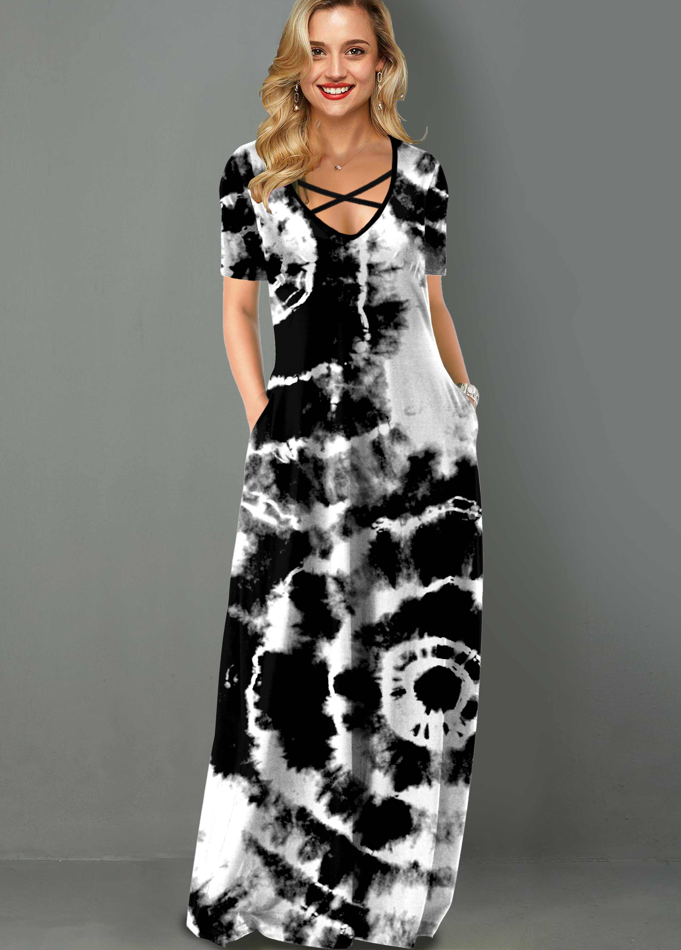Tie Dye Print Side Pocket Cross Strap Maxi Dress