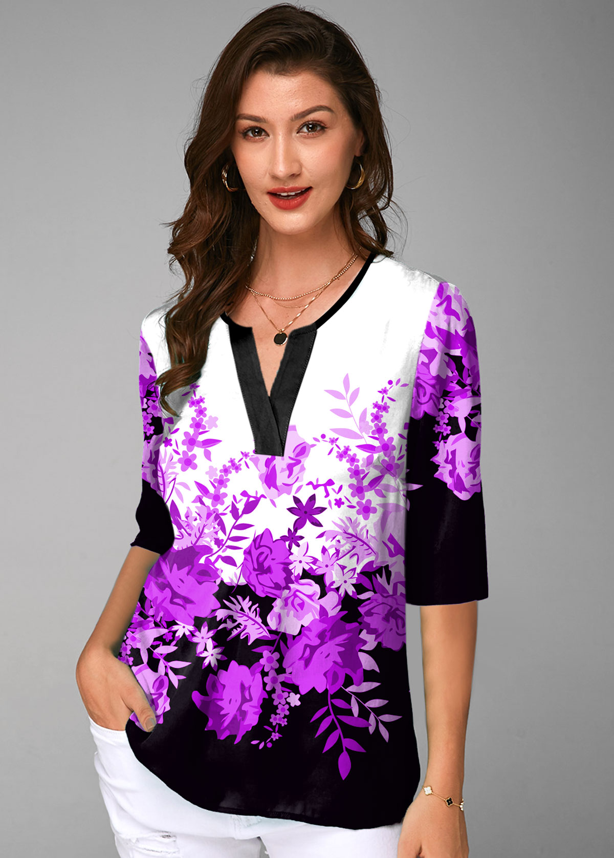 Floral Print Split Neck Half Sleeve Blouse