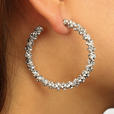Circle Shape Silver Metal Earring Set