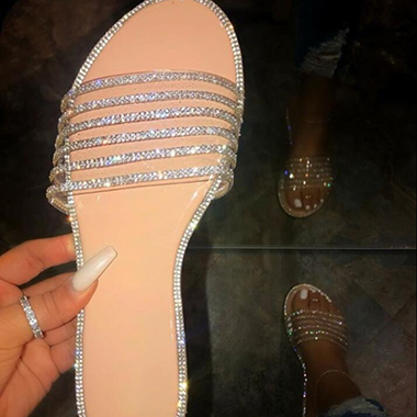 Rhinestone Embellished Low Heel Slippers for Women