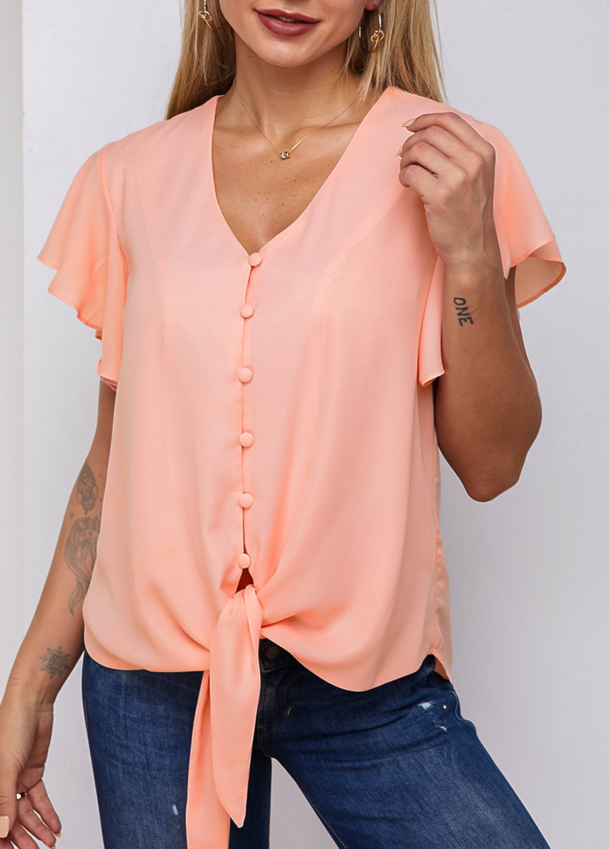 Knotted Hem Butterfly Sleeve Button Up Blouse