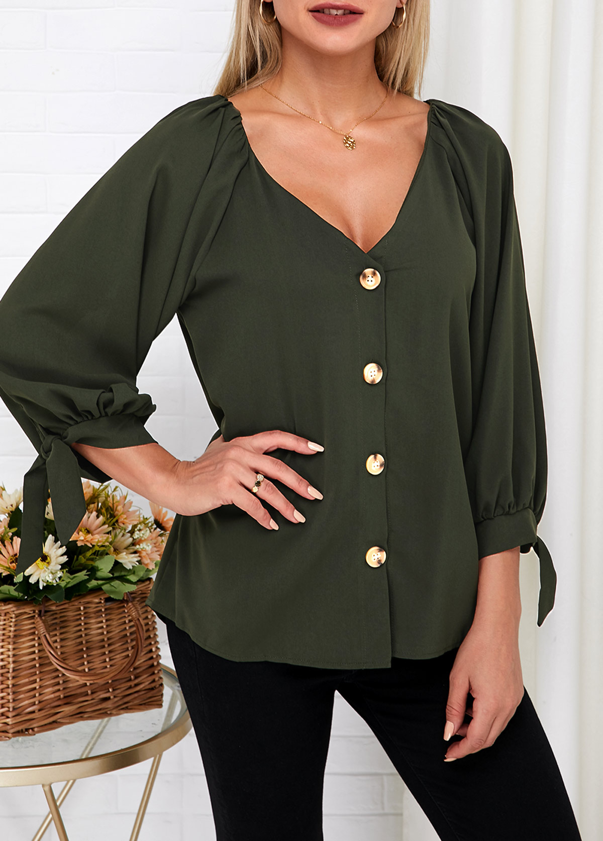 Knotted Cuff Button Up V Neck Blouse