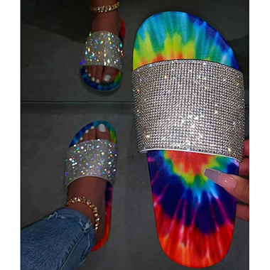 Rhinestone Detail Rainbow Color 1 Pair Slippers