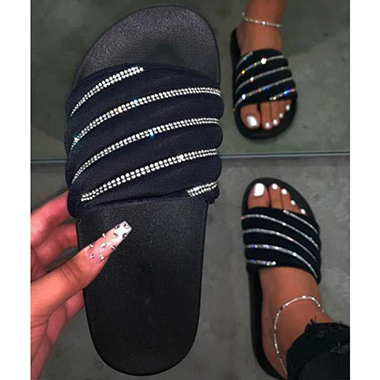 Rhinestone Embellished Black Slippers for Women