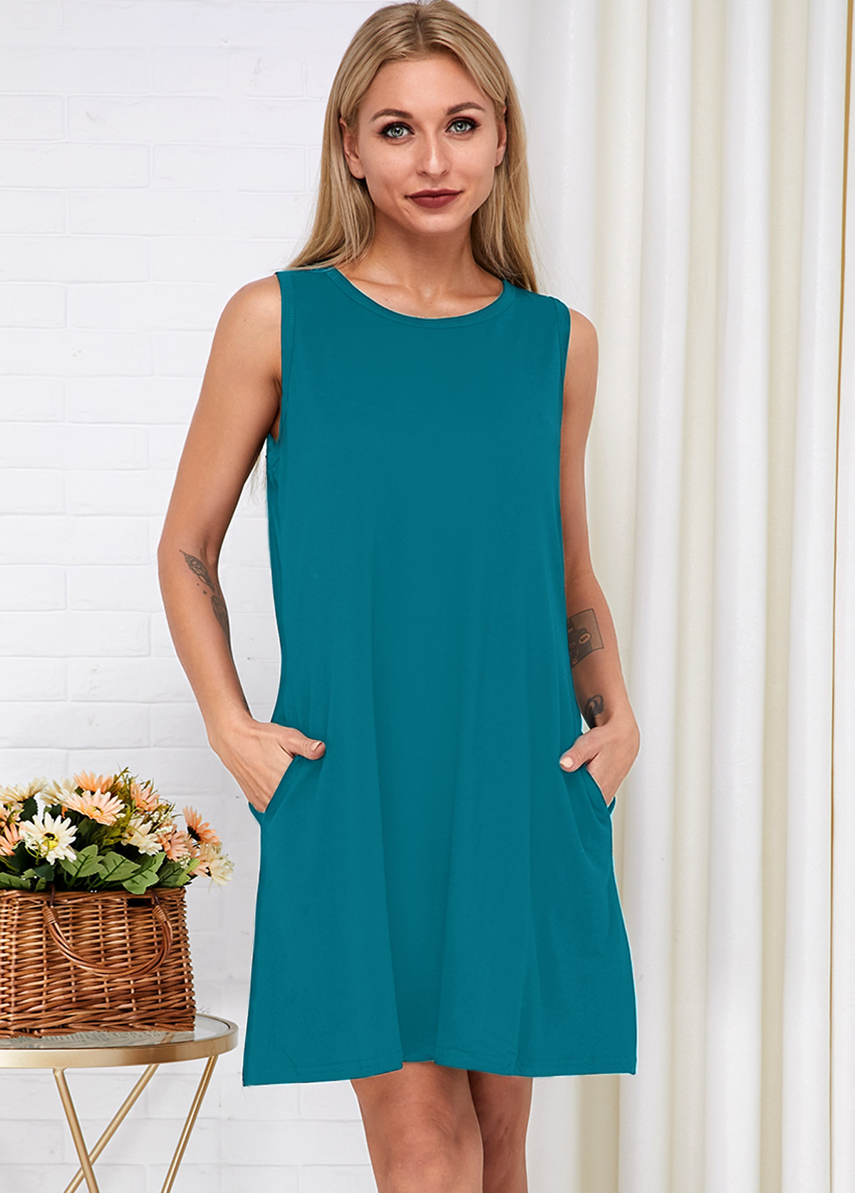 Side Pocket Sleeveless Round Neck Dress