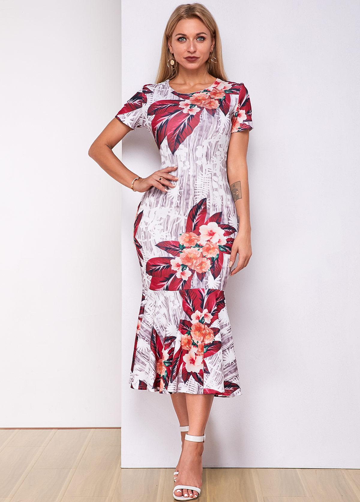 Floral Print Round Neck Short Sleeve Mermaid Dress