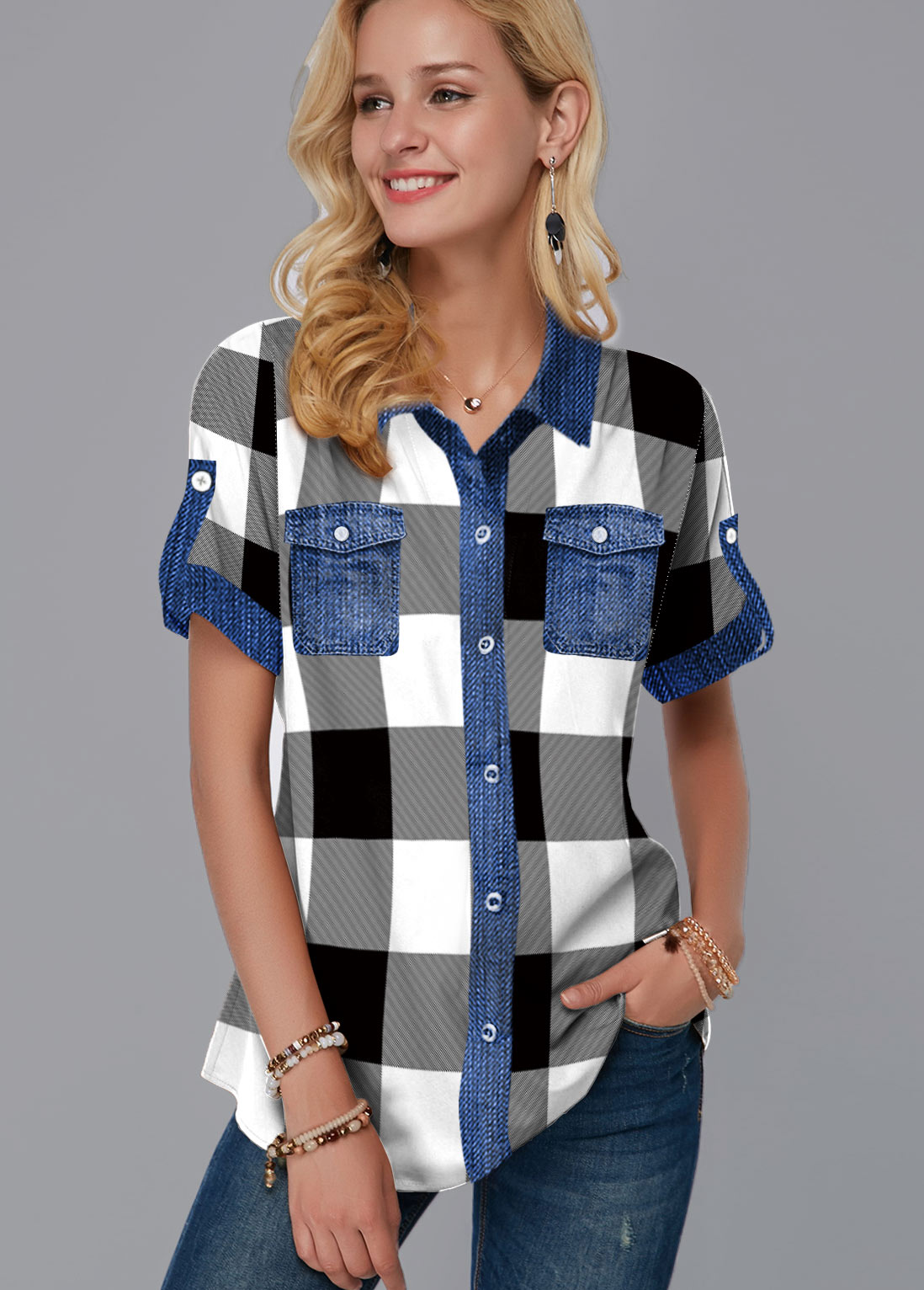 Plaid Print Button Up Short Sleeve Blouse