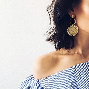 Circle Design Gold Metal Tribal Earring Set
