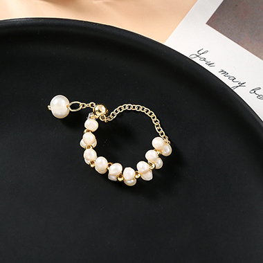 Pearl Embellished Gold Metal Ring for Women