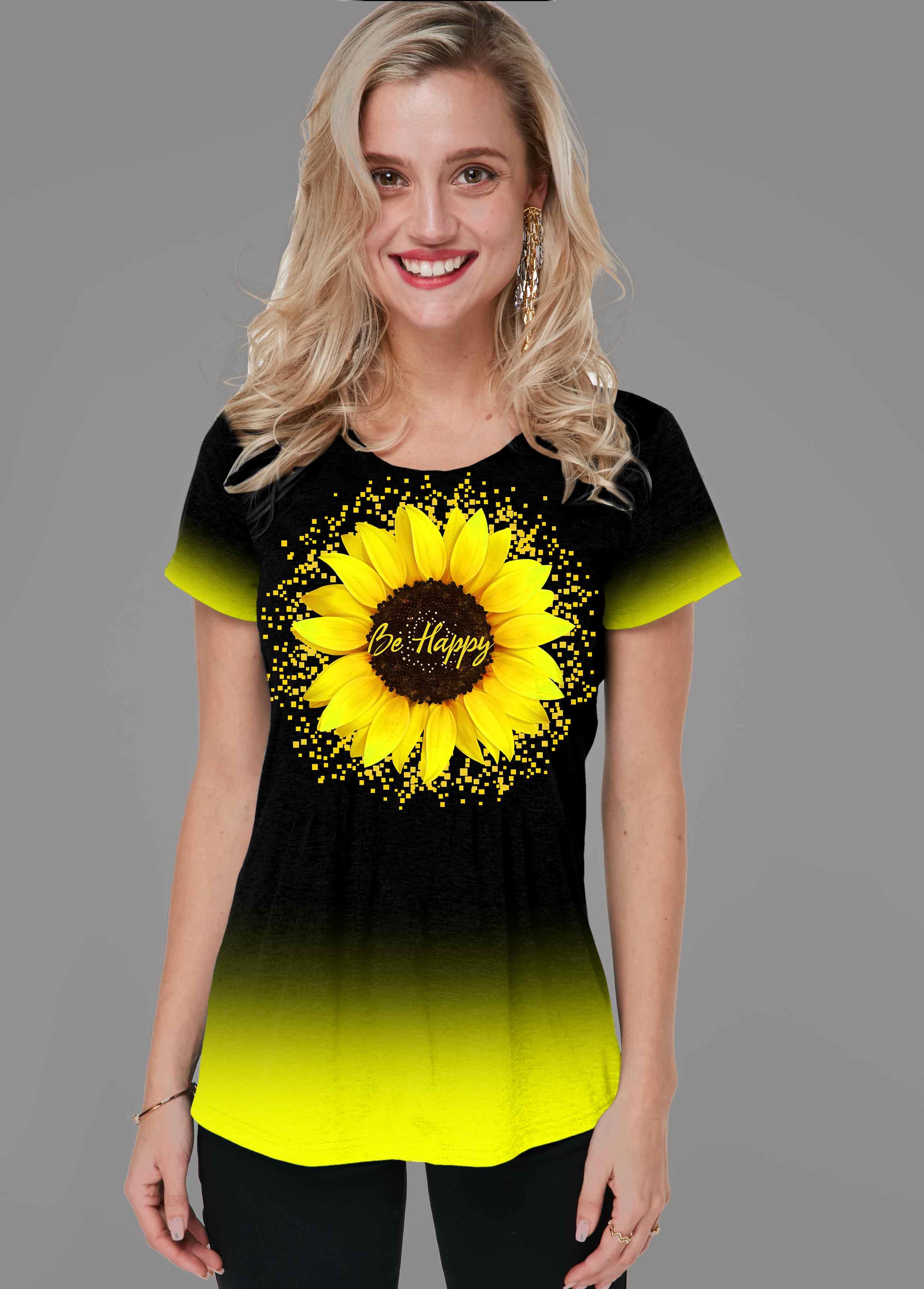 Sunflower Print Gradient Short Sleeve T Shirt