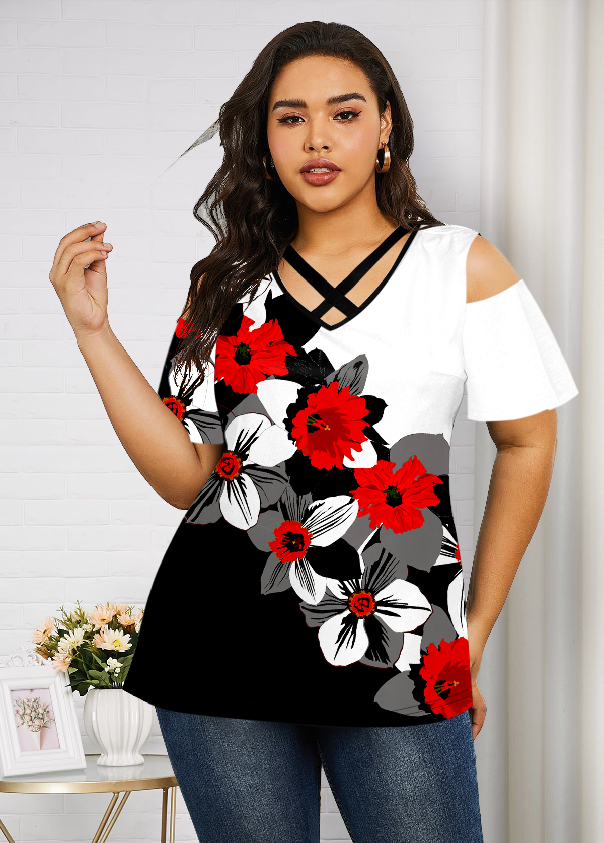 Plus Size Cold Shoulder Floral Print T Shirt