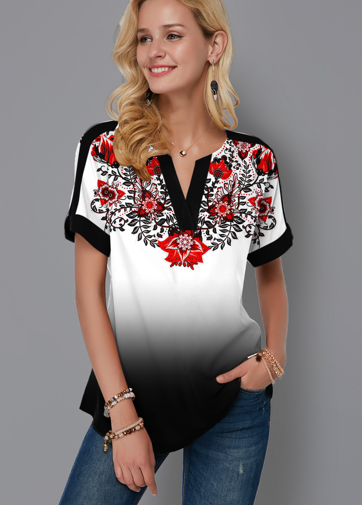 Tribal Print Gradient Split Neck Blouse