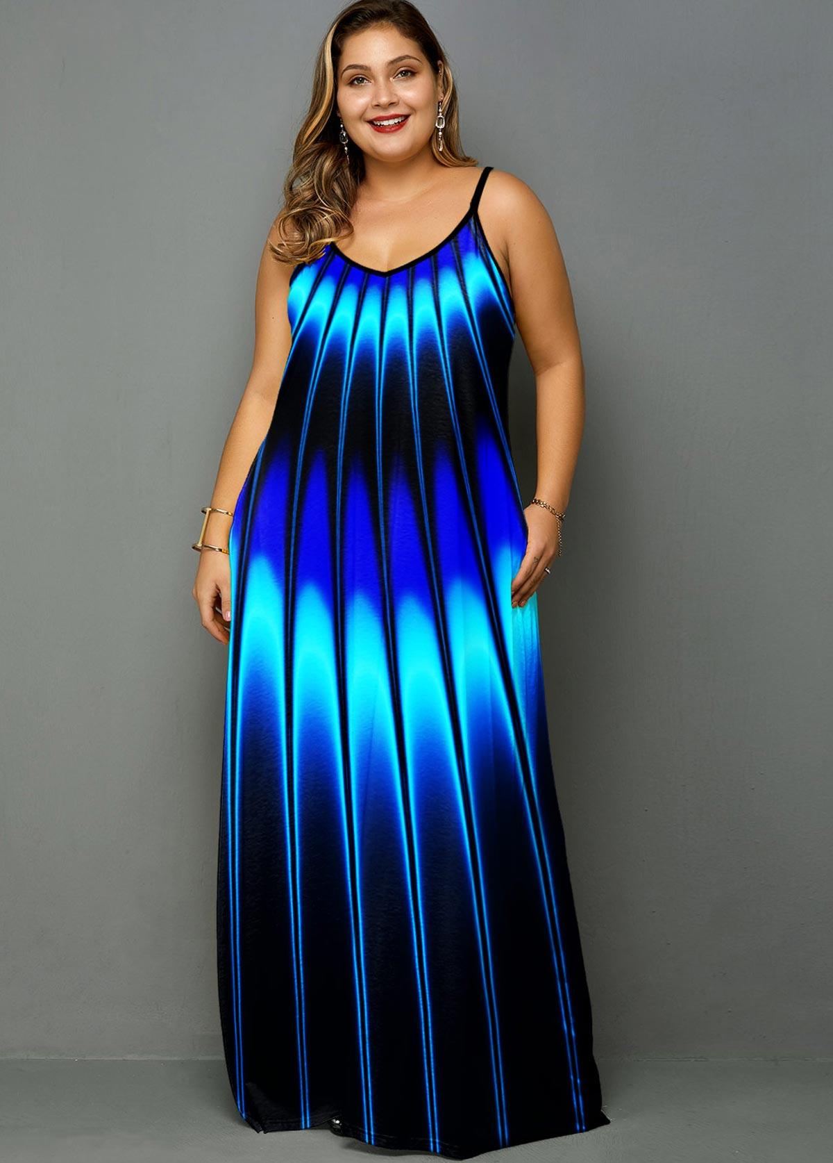 Plus Size Stripe Print Spaghetti Strap Dress