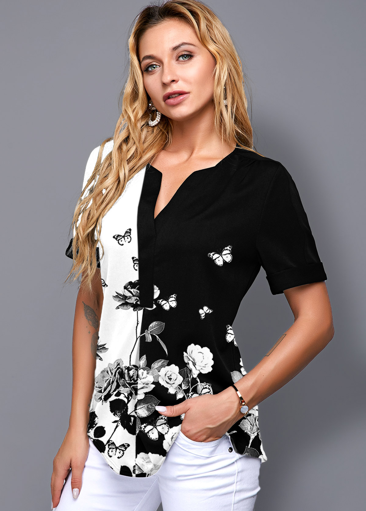 Floral Print Split Neck Short Sleeve Blouse