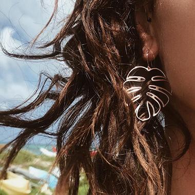 Hollow Gold Metal Leaf Shape Earring Set