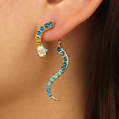 Snake Shape Rainbow Rhinestone Metal Earring Set