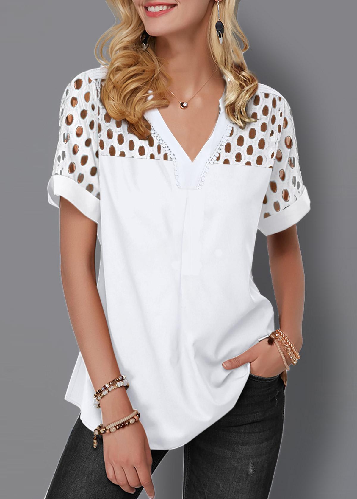 Lace Panel Split Neck Short Sleeve Blouse