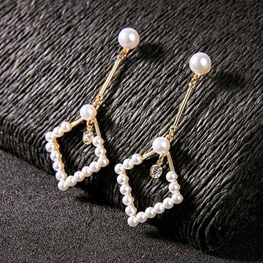 Rhinestone Embellished Pearl Detail White Earring Set