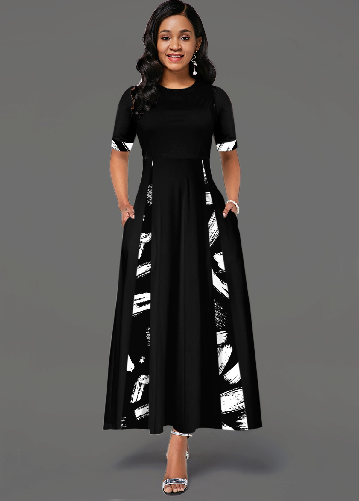 Printed Round Neck Short Sleeve Pocket Dress